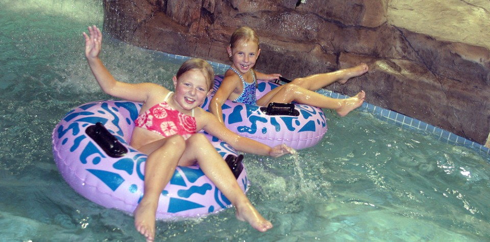 Children on the lazy river